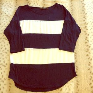 The Limited navy and white 3/4 sleeve top M